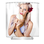 Beauty Woman With Clean Skin And Natural Makeup Shower Curtain