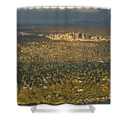 Bellvue Skyline At Sunset Shower Curtain