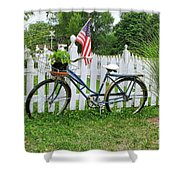 Bicycle And White Fence Shower Curtain