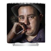 Big Mob Boss Smoking Cigarette Dark Background Shower Curtain