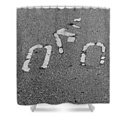 Biker In Black And White Shower Curtain