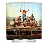 Bingham's The Jolly Flatboatmen Shower Curtain