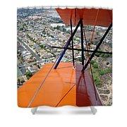 Biplane Over San Diego Shower Curtain