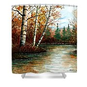 Birch Pond Shower Curtain