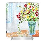 Birthday Flowers Shower Curtain