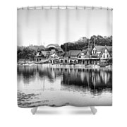 Black And White Boathouse Row Shower Curtain