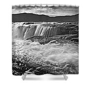 Black And White Waterfall Shower Curtain