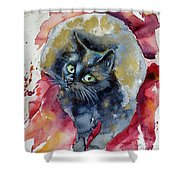 Black Cat In Gold Shower Curtain