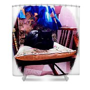 Black Cat With One White Whisker Shower Curtain