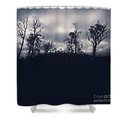 Black Silhouette Trees In Spooky Tasmanian Forest Shower Curtain