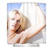 Blond Sports Girl Holding Surfboard Shower Curtain