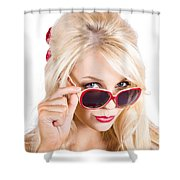 Blond Woman In Sunglasses Shower Curtain