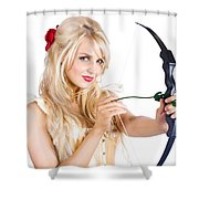 Blond Woman With Cupid Bow Shower Curtain