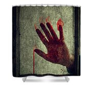 Bloody Hand On Window Shower Curtain