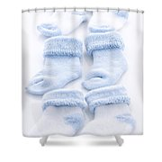 Blue Baby Socks Shower Curtain