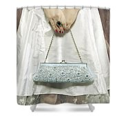 Blue Handbag Shower Curtain