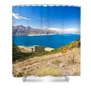 Blue Surface Of Lake Hawea In Central Otago In New Zealand Shower Curtain