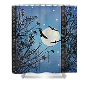 Blue Winter Shower Curtain