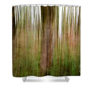 Blurred Trees Shower Curtain