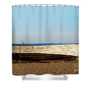 Boat On Shore 02 Shower Curtain by Pixel  Chimp