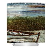 Boat On Shore Shower Curtain