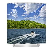 Boating On Lake Shower Curtain by Elena Elisseeva