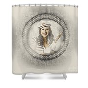 Boating Pin-up Woman On Nautical Shipping Voyage Shower Curtain