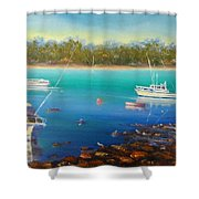 Boats At Merimbula Australia  Shower Curtain