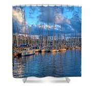 Boats In The Harbor Of Barcelona Shower Curtain