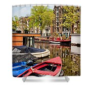 Boats On Canal In Amsterdam Shower Curtain
