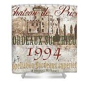 Bordeaux Blanc Label 2 Shower Curtain