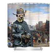 Border Terrier Art Canvas Print Shower Curtain