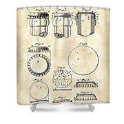 Bottle Cap Patent 1892 - Vintage Shower Curtain