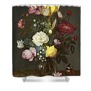 Bouquet Of Flowers In A Glass Vase Shower Curtain