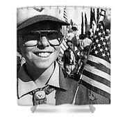 Boy Scout Veteran's Day Parade Tucson Arizona 1990 Black And White Shower Curtain