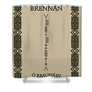 Brennan Written In Ogham Shower Curtain