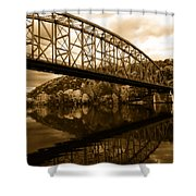 Bridge Reflections In Autumn Shower Curtain