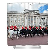 British Royal Guards Perform The Changing Of The Guard In Buckingham Palace Shower Curtain