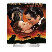 Brussels Griffon Art - Gone With The Wind Movie Poster Shower Curtain