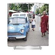 Buddhist Monks In Yangon Street Myanmar Shower Curtain