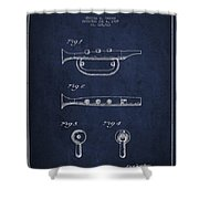 Bugle Call Instrument Patent Drawing From 1939 - Navy Blue Shower Curtain