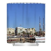 Buildings At The Waterfront, Columbus Shower Curtain