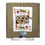 Bullet Piercing Playing Card Shower Curtain by Gary S. Settles