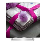 Bundle Of Old Love Letters Tied With Ribbon And Blossom Shower Curtain