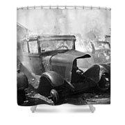 Burning Car Circa 1942  Shower Curtain