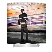 Business Man At Train Station Railway Platform Shower Curtain