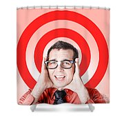 Business Man In Fear On Target Background Shower Curtain