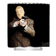 Business Man Or Corporate Crook Holding Gun Shower Curtain
