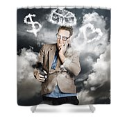 Business Man Planning Work Life Balance Strategy Shower Curtain