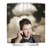 Businessman Having Bad Day. Communication Trouble Shower Curtain